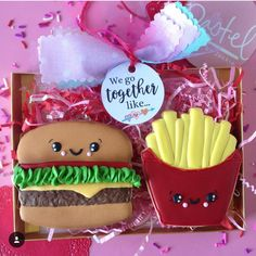 We go together like burger and french fries valentines day cookies! -See more of our favorite valentines day cookies of 2019 on B. Valentine's Day Sugar Cookies, Coconut Cookies, Iced Cookies, Royal Icing Cookies, Kawaii Cookies, Cute Cookies, Valentines Day Cookies, Valentine Nails, Valentine Ideas