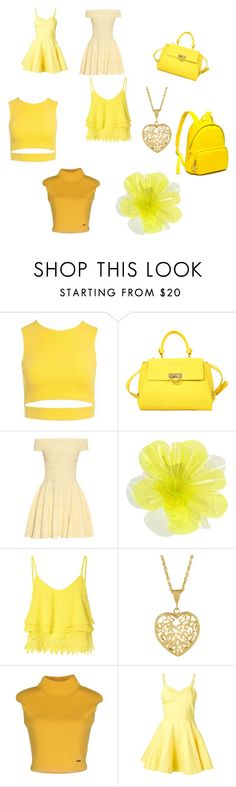 """Yellow! ✨"" by krazybo888 ❤ liked on Polyvore featuring Sans Souci, Salvatore Ferragamo, Alexander McQueen, DOUUOD, Glamorous, Dsquared2, Jeremy Scott and Tommy Hilfiger"