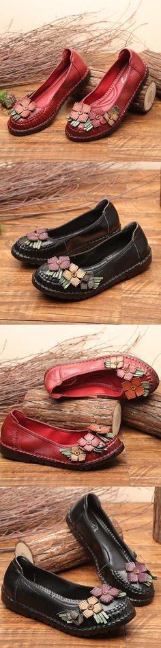SOCOFY Flower Genuine Leather Soft Flat Casual Loafers Shoes