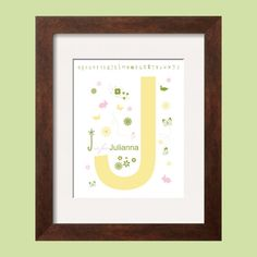 Personalized Name Art Print 8x10 in pink, green and yellow
