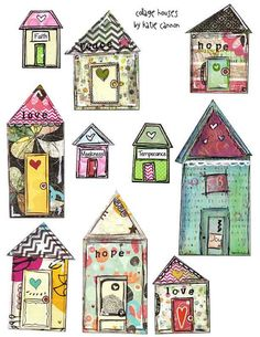 Mixed Media Printable Collage Houses Art Journaling Ephemera