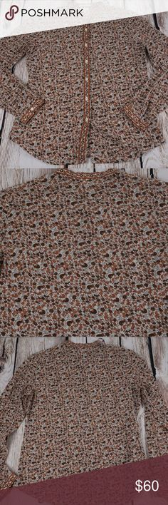 """Vintage Michael Kors Button Down Mandarin Blouse Mandarin Collar  Birds  Semi Sheer  Gently worn  Not sure it will fit? Take flat measurements of a similar item that fits and compare with the measurements below.          Measurements: (Approximate - lying flat in inches)    Underarm to underarm: 19.5"""" Total length: 25""""  [08043] Michael Kors Tops Blouses"""