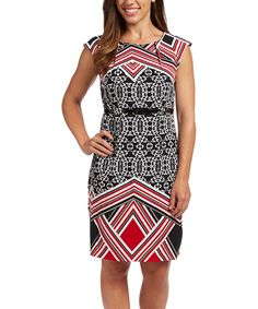 Another great find on #zulily! Red & Black Geo Belted Sheath Dress by ILE New York #zulilyfinds