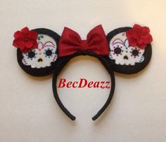 Day of the Dead inspired Minnie Mouse ears