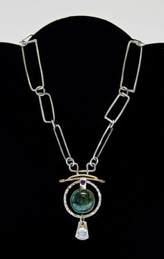 Jennie Lorette Keatts of JLK Jewelry: Necklace with Reticulated Chain. sterling silver, 14K gold fill, mixed green glaze, labradorite and amethyst.