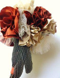 Fabric Flower Autumn Wedding Bouquet by BloominZinnias on Etsy, $75.00
