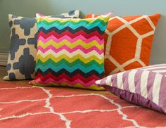 I am loving all the vibrant colors and big patterns right now. But I have no more room for anything...or money! So let's just enjoy it from the screen! Click on the pic to peruse the rest of the great accessories.   I pinned this from the Pattern Perfect - Rugs & Pillows in Lively Prints event at Joss and Main!
