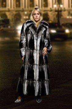 long chinchilla fur coat