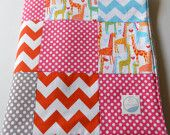Minky Baby Girl Patchwork Quilt Blanket Riley Blake Chevrons and Dots Giraffes Michael Miller 2 Sizes--Made to Order