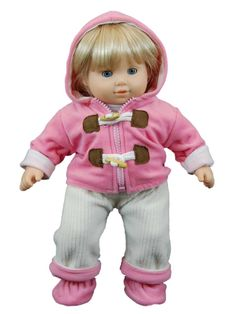 This outfit comes in both pink and light green. Sized perfectly for 15 inch baby dolls, such as Bitty Baby. This adorable fleece overall outfit includes white long sleeve shirt, beige fleece overalls, soft  fleece hooded jacket and booties. Designed and Manufactured by us, The Queen's Treasures ®