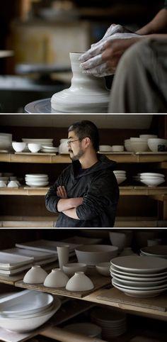Taro Tabuchi's studio. Japanese ceramics / pottery / porcelain / clay