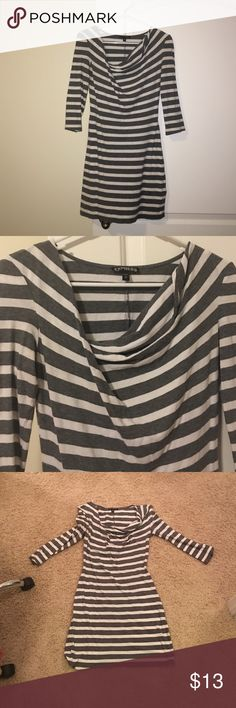 Express 3/4 Sleeve Cute Tunic EUC! There's a drop on the neckline... I don't know what that is called. Lol. It's very form fitting but it's comfy and looks great on! Express Tops Tunics