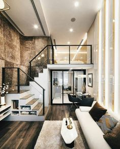 Loft apartment decorating - Luxurious Compact Modern Condo Apartment with Double Height Ceiling – Loft apartment decorating Modern Home Interior Design, Home Room Design, Small House Design, Dream Home Design, Loft Design, Modern House Design, Interior Architecture, Modern Condo, Modern Living