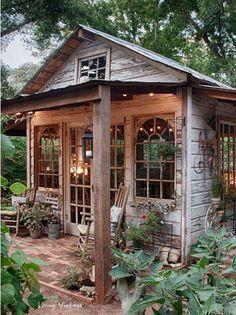 Garden shed turned into a beautiful garden hideway.