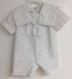 Baby boy Sailor Style Romper Sizes 3 mos. to 18 by DesignsByGrammy