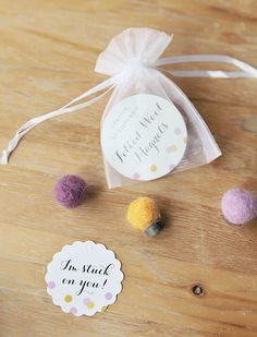 DIY Felted Wool Magnets Tutorial with matching personalized tags: http://www.evermine.com/all_tags/CF-36/