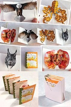 Animal Pop-Up Calendar by GabrielaRomagna on Etsy with a lizard, an eagle, an octopus and a lynx popping up! Check it out!