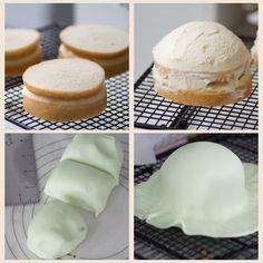 Recipe for mini Swedish princess cakes. Mini Cakes, Cupcake Cakes, Shoe Cakes, Cupcakes, Cupcake Recipes, Green Food Coloring, Princess Cakes, Princess Cake Swedish, Baking Tips