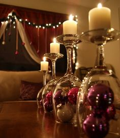 Christmas decor with Ornaments and Glasses | Make Create Do- doing this for sure!.... this is different putting glasses upside down with candles on top and Christmas bulbs undernieth