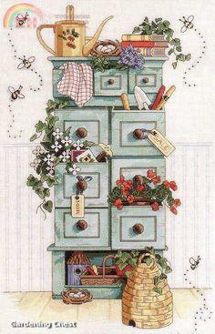 Para alegrar cocinas, una colorida alacena en #puntodecruz