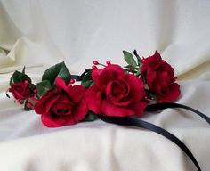 Gorgeous Red headwreath Valentines Day rose headband black Flower crown Lana del Rey wedding bridal hair accessories summer music festival by AmoreBride on Etsy https://www.etsy.com/listing/117132794/gorgeous-red-headwreath-valentines-day