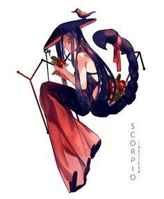 Escorpio - by Inuiikun Anime Zodiac, Zodiac Art, 12 Zodiac, Zodiac Horoscope, Zodiac Signs, Character Concept, Character Art, Character Design, Art Scorpio