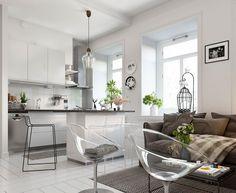 Un buen ejemplo de estilo escandinavo en decoración en un mini piso.