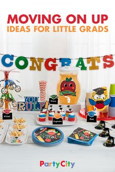 Celebrate their end-of-year achievements with a primary color-themed party that's perfect for your little grad. Become an A+ party planner when you adorn your table with wise owls and adorable apples, alongside yummy goodies and playful plates. Get supplies and a dose of inspiration at partycity.com.