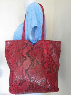 Sondra Roberts Red Faux Leather Snakeskin Fabric glazed tote shopper Bag | Clothing, Shoes & Accessories, Women's Handbags & Bags, Handbags & Purses | eBay!