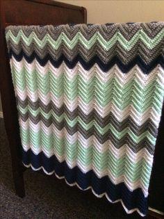Chevron mint grey navy white baby blanket for Raine
