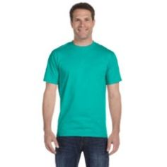 A JADE DOME DryBlend? 5.6 oz., 50/50 T-Shirt product JADE DOME DryBlend? 5.6 oz., 50/50 T-Shirt $6.03 50% preshrunk cotton, 50% polyester; DryBlend? fabric wicks moisture away from the body; Double-needle stitching throughout; Taped shoulder-to-shoulder; Seamless collar; Heat transfer label;  Sports & Teams You can add personalized names and numbers to the back of this item for your team or sports organization.