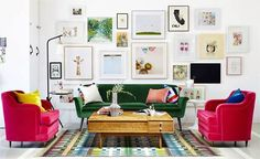 The Eclectic and colourful interior, with a MCM touch, of the design studio Oh Joy!. See more mid-century interiors, click on the image.