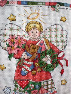 Christmas Country Cross Stitch Angel Stocking -  Etsy - Craftycooper