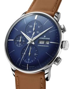 Junghans Meister Chronoscope Mens Day Date Automatic Chronograph Watch - Analog Blue Face with Luminous Hands - Stainless Steel Brown Leather Band Luxury Watch Made in Germany Fancy Watches, Luxury Watches For Men, Vintage Watches, Cool Watches, Rolex Watches, Style Masculin, Watch Brands, Fashion Watches, Gentleman Watch