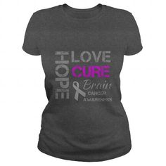 Awesome Tee Love Hope Cure  Brain Cancer Shirts & Tees