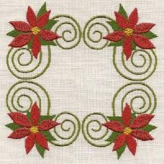 """Christmas Poinsettias"" +FREE sample!   Here's a lovely set of designs featuring festive poinsettias and scrolls! Ideal for your holiday tablecloths, placemats, napkins and so much more. Includes 6 designs for 5x7, and 2 designs for 4x4 hoops!"