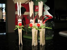 Linda Karnes made some of these for Kristy...Clothespin Reindeer Craft!