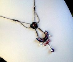 Purple Victorian necklace Vintage brass Artisan by LaLaCrystal, $48.00