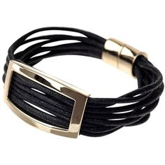 Adele Marie Cord and Rectangular Metal Trim Bracelet, Gold ($32) ❤ liked on Polyvore