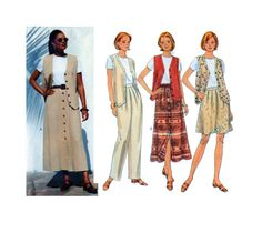 Butterick 4505, Women, Sewing Pattern, Short Sleeve Top, Long Vest, Pleated Pants, Button Front, Aline Skirt, Plus Size 18-20-22, UNCUT by FindCraftyPatterns on Etsy