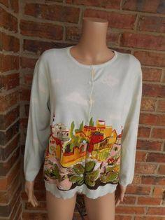 CAbi Villa Scene Cardigan Size XL #543 Women Sweater Cotton Blend 3/4 Sleeve #CAbi #Cardigan
