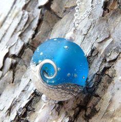 Ocean Wave Necklace, Blue Wave Lampwork Pendant Necklace, Frosted Blue & White Lentil Bead, Handmade, Nautical, Sea, Fashion