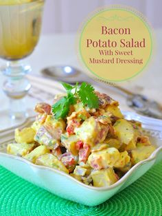 Bacon Potato Salad with Sweet Mustard Dressing - a summer BBQ or picnic fav! This satisfying bacon potato salad with a sweet and tangy mustard dressing borrows the best from a combination of a few favorite potato salad recipes.