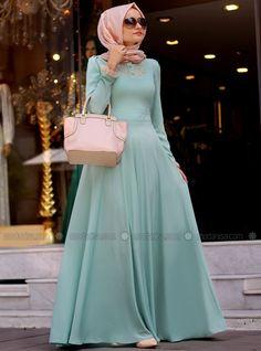 Klasik Kloş Elbise - Mint - Mevra