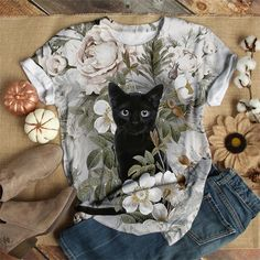 Floral Print Shirt, Floral Prints, Shirt Bluse, Cat Pattern, Casual T Shirts, Fashion Prints, Types Of Sleeves, Printed Shirts, T Shirts For Women