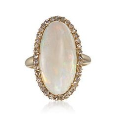 C. 1950 Vintage Opal and .75 ct. t.w. Diamond Ring in 14t Yellow Gold. Size 10.75
