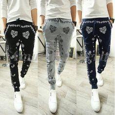 Mens Casual Printed Jogger Dance Skinny Harem Pants Slacks Sport Sweat Trouser