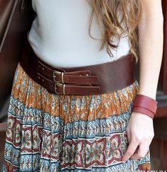 Correa de cuero clásico de ancho, mujer de la correa de cuero, correa de cuero marrón, doble hebilla, hebilla de bronce, correa para la muje