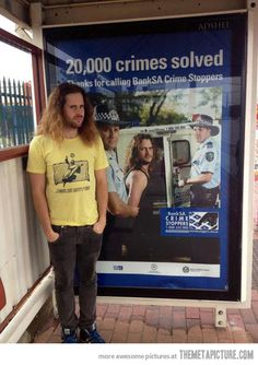 "It's the same guy as on the poster behind him, and his shirt says ""Jesus Saves""... well, this is just awkward."