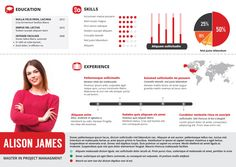 Give your resume a new look and get hired! You can edit this infographic resume template in Photoshop and Illustrator.